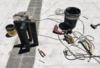 Tools used for construction of the columns for A Memorial For A Lost Courtyard I Have Never Been To - Sahel Al Hiyari